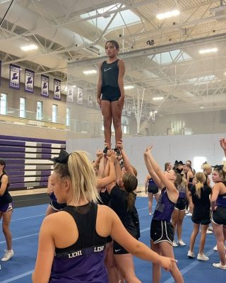 Our Stunt Certification Clinic was so much fun! Thank you for teaching us @lehihighcheerleaders We love our big sisters!💜🤍💜🤍